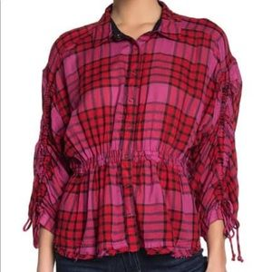 Free People Pacific Dawn Plaid Button Down Top